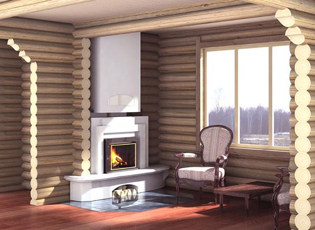 Дизайн гостинной в деревянном доме