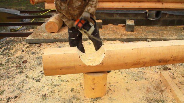 выборка древесины бензопилой
