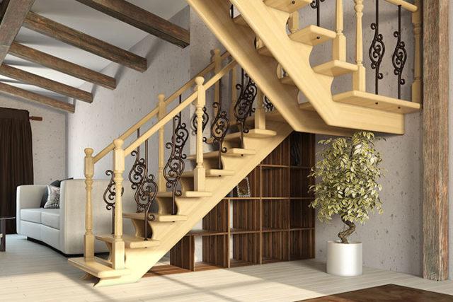лестница с перилами в частном доме