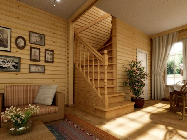 деревянная лестница на балясинах