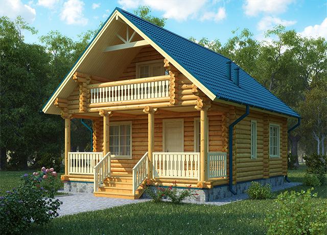 проект дома из бревна с мансардой