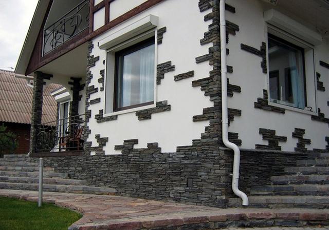 внешняя отделка дома искусственным камнем