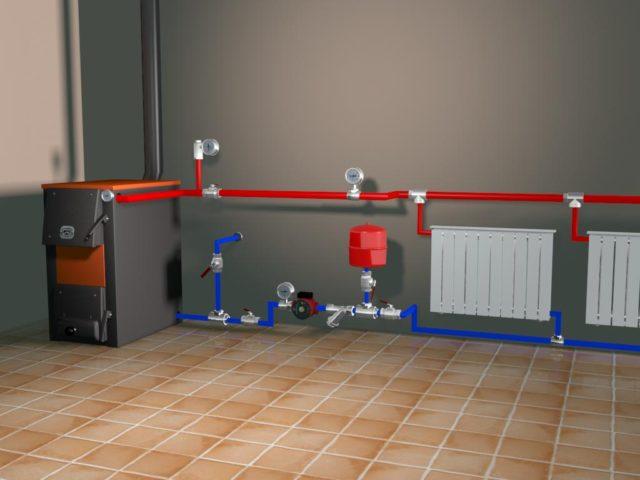 Самотечная система отопления частного дома схема