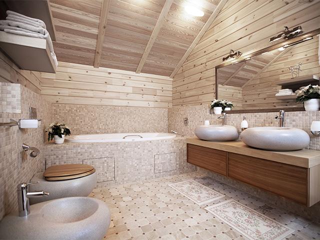 керамическая плитка для ванны в деревянном доме