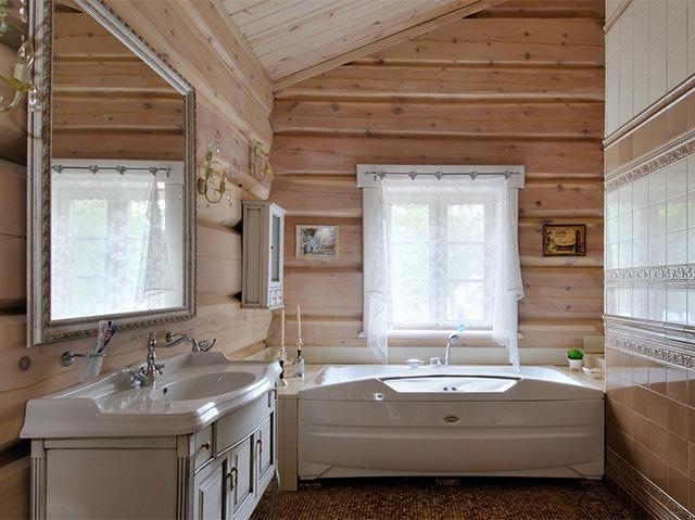 ванная комната в доме из бруса