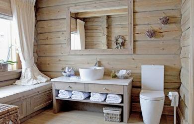 ванная комната в деревянном доме