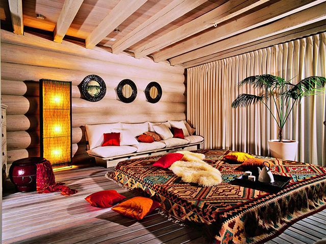 дизайн спальной комнаты в этнической стиле