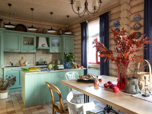 дизайн кухни в бревенчатом доме