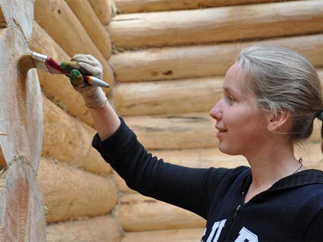 обработка деревянного дома антисептиком