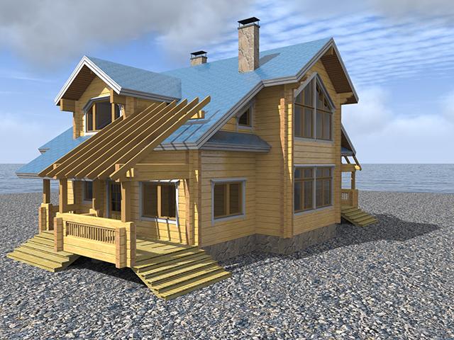 модель деревянного дома из бруса