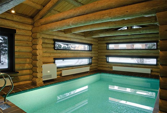 бассейн для бани из оцилиндрованного бревна