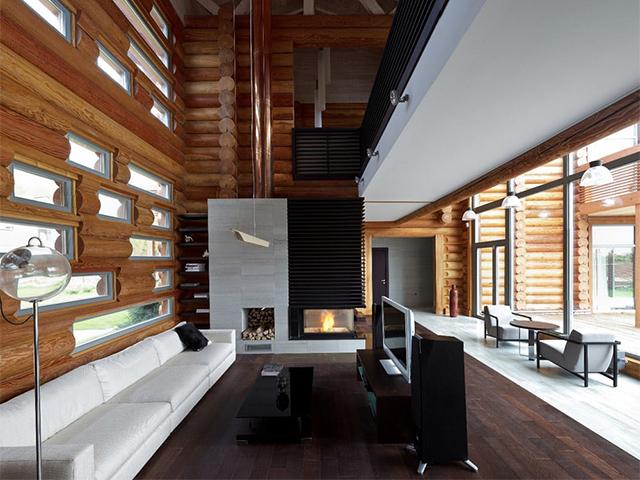 интерьер гостиной в бревенчатом доме