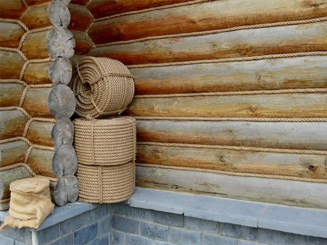 конопатка сруба джутовым канатом