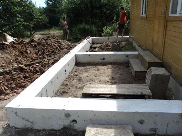 ленточный фундамент под веранду деревянного дома