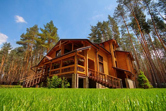 большой дом из оцилиндрованного бревна