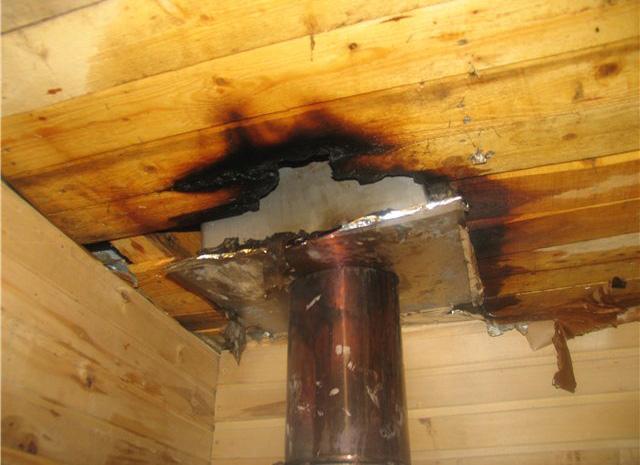 возгорание потолка в деревянном доме