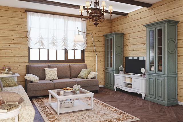 современное оформление гостиной в деревянном доме