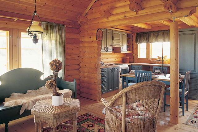 совмещенная кухня-столовая в бревенчатом доме