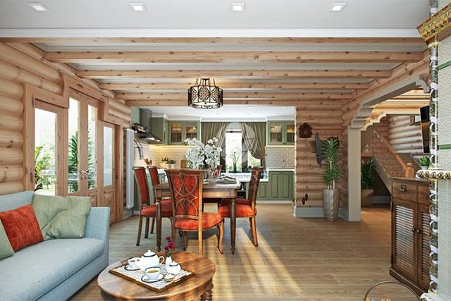 дизайн кухни совмещенной с гостиной в доме из бревна
